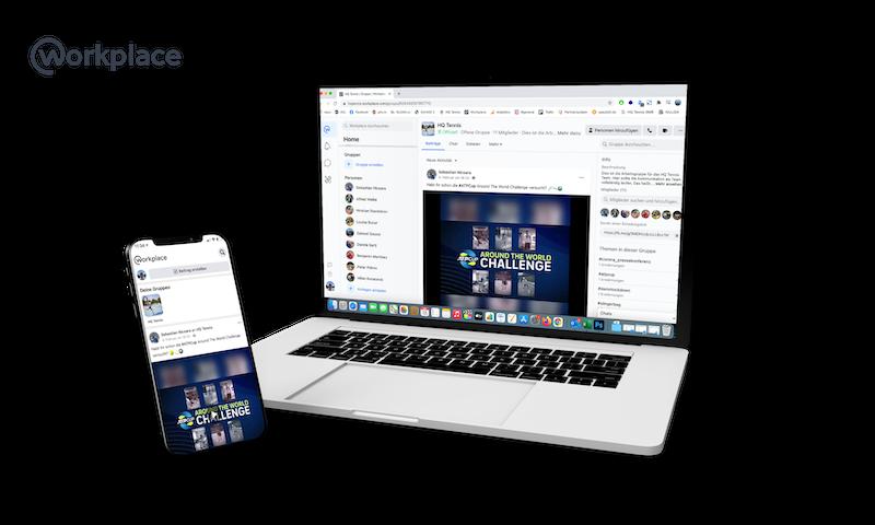 Workplace Ansicht Laptop und Handy